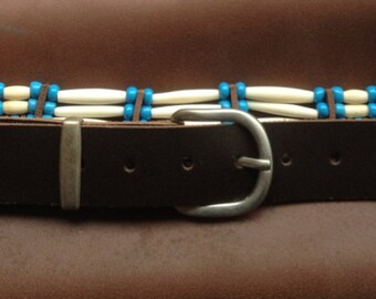 BELT bone and beads - On order to your size