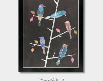 Mid Century Modern - Together As One - Birds, Mid Century Decore, Birds, Boho, Girls Wall, Colorful, Bird Art, Boho Decore, Minimalist