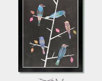 Mid-Century Modern - zusammen wie-Vögel Mid-Century entkernen, Vögel, Boho, Mädchen Wand, bunten, Vogelkunst, Boho entkernen, minimalistisch