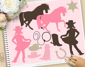Digital Stamps - Cowgirl Clipart, cow girl, western, wild west clipart, horse, cowboy boots, Commercial Use, Vector clip art, SVG Files