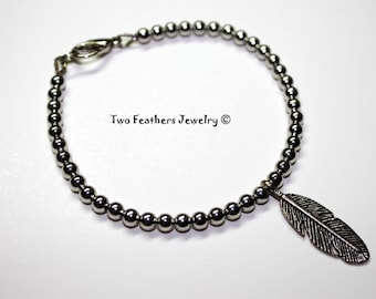 Silver Feather Bracelet - Two Feathers Jewelry - Beaded Bracelet - Metal Bracelet - Minimalist Jewelry - Bohemian - Stacking Bracelet