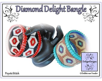 Beading Pattern, Tutorial, Peyote Stitch, Bangle - DIAMOND DELIGHT