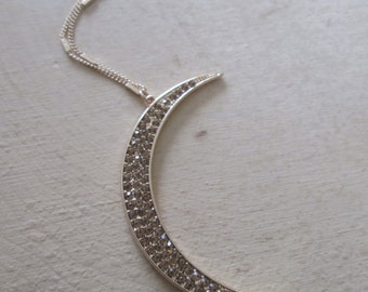 Heavenly Light:  Pave Topaz Crystal Crescent Moon Necklace | Celestial Jewelry