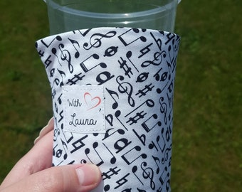 Drink Coffee Cozy - Music Notes - ONE SIZE fits most, REVERSIBLE.
