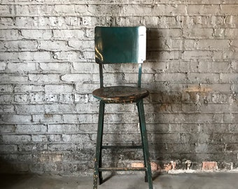 Vintage Factory Salvaged Industrial Machinists Stool 'The Rockford Stool'