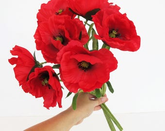 10 Silk Poppies Branches Total 20 Blossoms Artificial Flowers Red Poppy Flower Floral Hair Accessories Poppy Leaves Supplies Faux