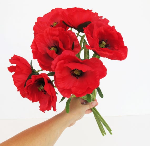 10 silk poppies branches total 20 blossoms artificial flowers red 10 silk poppies branches total 20 blossoms artificial flowers red poppy flower floral hair accessories poppy leaves supplies faux from royalflowersstudio on mightylinksfo