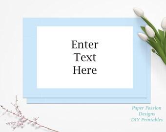 Editable Baby Blue Tent Place Card ~ Modern Buffet Table Card ~ Blue Baby Boy Shower Decor ~ 0022BG