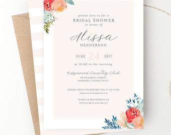 Watercolor Floral Bridal Shower Invite, Organic Wedding, Blush Shower Invitation, Baby Shower, Rehearsal Dinner, Printed or Digital File