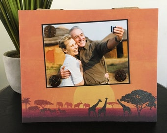 Sunset Safari - Magnetic Picture Frame Handmade Gift Present Home Decor by Frame A Memory Size 9 x 11 Holds 5 x 7 Photo - Africa Travel Trip