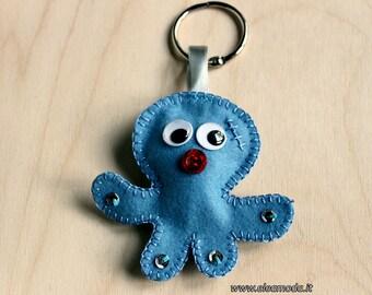 Keychain Felt, keychain purse, octopus keychain, sea creatures, keychain ocean, pendant keychain, keychain for men, handmade