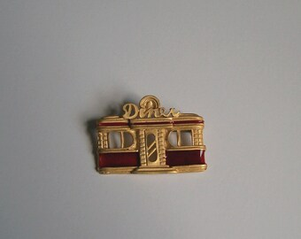 Retro Diner Brooch Rockabilly Pin Enamel Red and Gold Or Blue and Silver Free Shipping