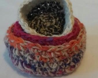 Knitted Nesting bowls / yarn nesting bowls / nesting bowls / stacked bowls / bowls / wool bowls / nursery bowls/ stackable bowl set
