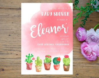 Cactus Baby Shower Invitation Printable, Succulent Baby Shower invite, desert invite, tropical shower, palm springs, watercolor succulent