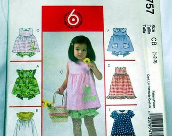 McCall's 4757 - EAST - Toddler Dress, top and pantie pattern - Sizes 1,2,3