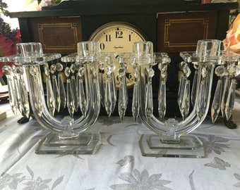 Heisey New Era Candelabra Set of 2 with20 crystal prisms each and 2 Bobeche