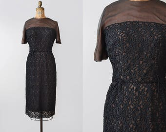 For Keeps Dress / 1950s lace and organza wiggle dress / vintage black lace dress