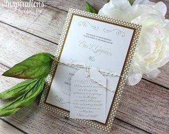 Wedding Invitations, Gold Invitations, Classic Wedding Invitation