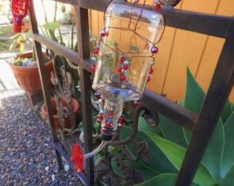 Cute Handcrafted Glass Hummingbird Feeder