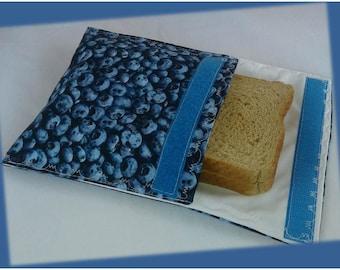 Sandwich Bag / Ecological Bag / Snack Bag / Snack Bag / Reusable Bag / Zero Waste / MOTIF:  BLUEBERRY