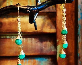 Mini Emerald Briolette Waterfall Earrings