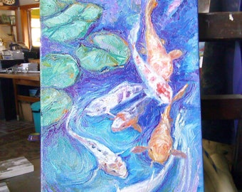 On the easel! Thick thick oil paint and thick stretchers Sweet Koi,gold fish and lily pads ORIGINAL OIL PAINTING Free Shipping! 10 by 18.