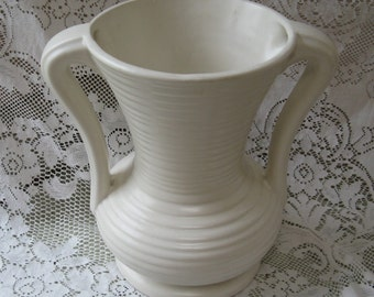 pottery vase urn shaped cream matte glaze 9 inches tall