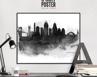 Cincinnati art print, Cincinnati wall art, Cincinnati skyline poster black & white, travel gift, home Decor, iPrintPoster