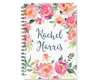 2018-2019  Month Planner, Personalized Calendar Notebook or Journal, watercolor floral design, 12 or 24 month calendar, SKU: pn pwf2