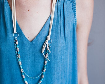 Turquoise and Pink Opal Mixed Media Statement Necklace-Silver