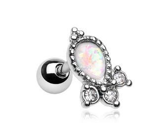 Victorian Opal Sparkle Cartilage Tragus Barbell