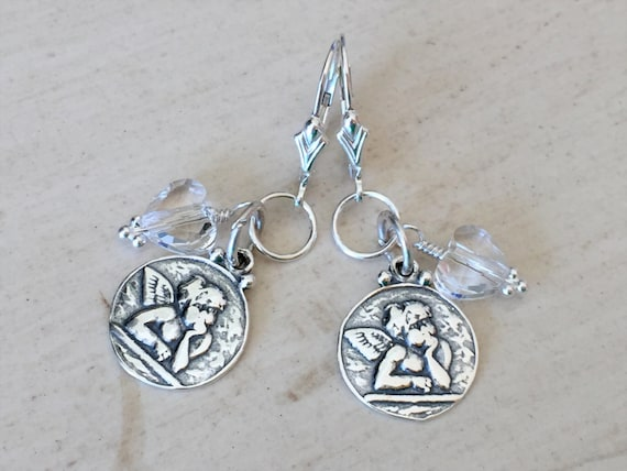 Raphael's Angels & Swarovski Crystal Heart Earrings, Sterling Silver