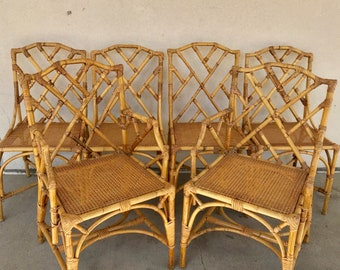 Chinese Chippendale Rattan Dining Chairs   Set Of 6