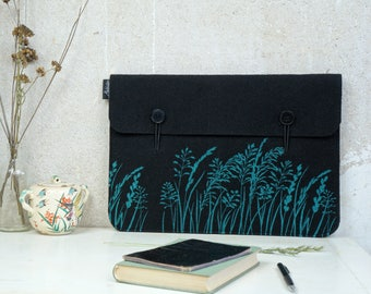 "Macbook 15"" Vegan Sleeve, Ecofriendly Laptop Bag, MacBook Pro15in Laptop Cover, Ocean on Black Print, Wild Grass Pattern, Nature Lover Gift"