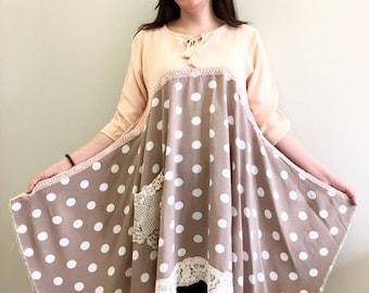 Boho Dress Upcycled Clothing, Gypsy Clothing, Upcyled Recycled Repurposed Clothing, Handmade Womens Clothing Top Tunic Clothes Dresses