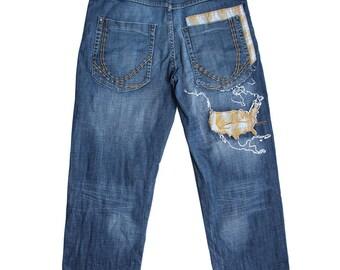 KARL KANI jeans oldschool baggy jeans, loose blue vintage gangsta rap hip-hop, 90s hip hop clothing, OG size W 34