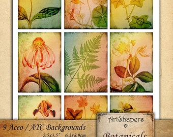 BOTANICALS- - Aceo backgrounds, jewelry holders,instant download paper, vintage images,digital collage sheet DCS97