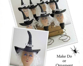 EPattern PDF Instant Download Halloween Witch Treats Sisters Primitive Folk Art Sewing & Painting Pattern