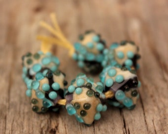 Mini Crystals #2- A set of 6 lampwork beads