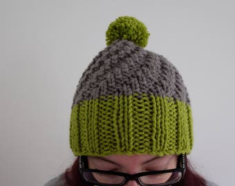 Small/medium green/grey knitted woolly winter bobble/pom pom/slouchy hat