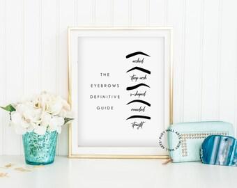 Eyebrows Prints, Eyebrow Shapes, Eyebrows Guide, Eyebrows, Poster, Make Up, Makeup, Beauty, Salon, Wall Art, Printable, Fashion, Vanity