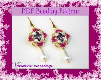 DIY Beading pattern Vermeer earrings with Superduo beads / PDF tutorial with detailed instructions, images and diagrams