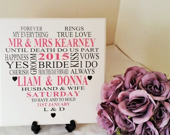 Unique Wedding Gift, Personalised Bride And Groom Gift, Wedding Plaque,  Anniversary Gift Ideas, Gift for Couple, 266