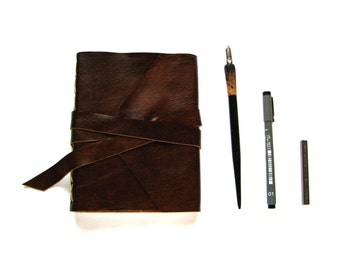 Lined Leather Journal, Leather Notebook, Brown leather with Double Wrap Tie Closure