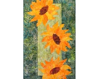 Breezy Sunflowers Quilt ePattern 4384-14e, flower wall quilt pattern, appliqued wall quilt pattern