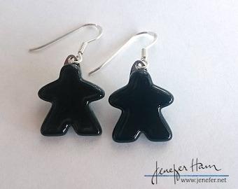 Choose your color: upright MEEPLE earrings! super cute meeple glass earrings made by Jenefer Ham