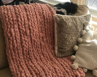 Chunky Hand Knit Chenille Blanket