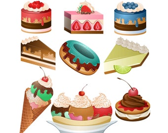 Desserts ClipArt- Set of 9 PNG, JPG and Vector Desserts