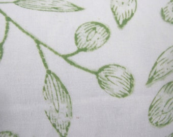 Indian Hand Blocked Pillow Cover- Green Leaf Pattern on White