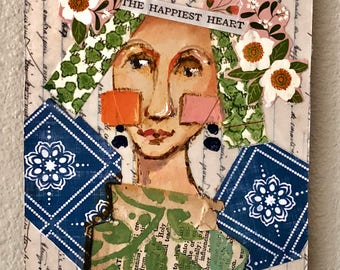 Little Sisters No. 44   Mixed Media Portrait, Paint, Collage, Original Art, Contemporary, Whimsical Art, Mitzi Easley